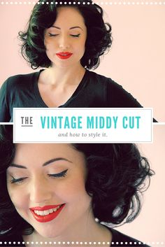 The Perfect Vintage Hair Cut – The Middy and How to Style It. - The Perfect Vintage Hair Cut – The Middy and How to Style It. Vintage Haircuts, Vintage Hairstyles Tutorial, Retro Hairstyles, Hairstyles Videos, Hairstyle Tutorials, Quick Hairstyles, Vintage Makeup, Medium Hair Styles, Curly Hair Styles