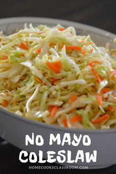 This no mayo coleslaw is perfect for pairing with some smoked pulled pork. Simply whisk up the vinegar & mustard based sauce in a pan and then pour it over some cabbage. The hot dressing helps to break down the cabbage, without losing it's crunch. Coleslaw With Vinegar Dressing, No Mayo Coleslaw, Vinegar Coleslaw, Coleslaw Salad, No Mayonnaise Coleslaw Recipe, Healthy Coleslaw, Creamy Coleslaw, Coleslaw Recipe Easy, Salad