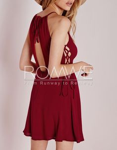 Wine Red Sleeveless Backless Lace Up Dress 18.99