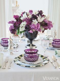 Hues of lilacs and tulips are echoed in amethyst glass.