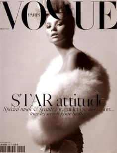 Kate Moss / Vogue Paris March 2004 Cover by David Sims Vogue Magazine Covers, Fashion Magazine Cover, Fashion Cover, Vogue Covers, Kate Moss, Vogue Paris, David Sims, Foto Fashion, Vogue Fashion