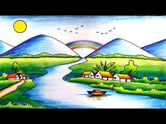 Easy Scenery Drawing for Kids-Step by Step Easy Nature Drawings, Nature Drawing For Kids, Easy Scenery Drawing, Easy Drawings For Kids, Painting For Kids, Oil Pastel Colours, Oil Pastel Art, Oil Pastel Drawings, Colorful Drawings