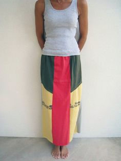 Long Straight Upcycled T Shirt Skirt / Butter Yellow Army by ohzie