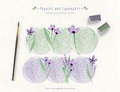 Lavender Watercolor Flowers Clipart Poppy Watercolor Floral by @Angélica Venegas Instagram: @AngelicaVenegas_design Botanical Illustration, Watercolor Illustration, Poppy Clips, Watercolor Poppies, Flower Invitation, Freelance Graphic Design, Floral Bouquets, Vintage Flowers, How To Draw Hands
