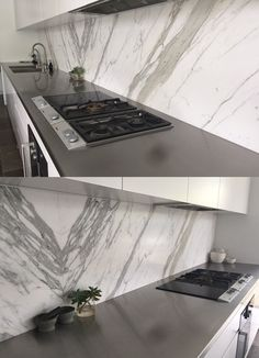 Calacatta Oro on splash back, fabricated and installed by Marable Slab House in Sydney. #marable #calacatta #marble