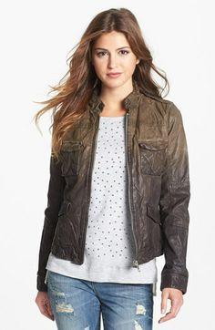 Q40 Ombré Crinkled Leather Jacket   Nordstrom