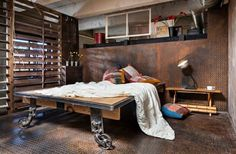 Checkout our latest collection of 25 Industrial Bedroom Interior Designs for Elegant Bedroom Loft Style Bedroom, Industrial Bedroom Design, Industrial Interiors, Industrial House, Industrial Decorating, Edgy Bedroom, Master Bedroom, Masculine Bedrooms, Industrial Metal