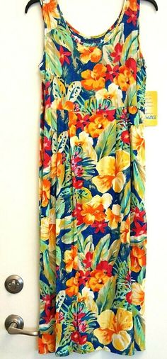 771a54dc398f Jams World Women's S Small Hibiscus Tropical Floral Dress Shift Sundress  #JamsWorld #Sundress #