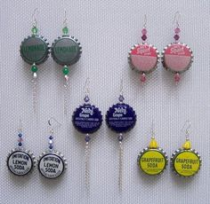 Make It     Get Your Party On     Confections     Celebrate     More…  Style It: DIY Bottle Cap Earrings  This post was originally featured on A Beautiful Mess. .  Free tutorial with pictures on how to make a bottle cap earring in under 60 minutes by jewelrymaking with pliers, hammer, and awl. How To posted by amyistheparty.  in the Jewelry section Difficulty: Simple. Cost: 3/5. Steps: 6