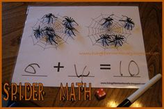 Spider Math - Practice Counting, Addition, or Subtractions with this fun Spider activity. Free printable included. Great for 3-7 year olds.