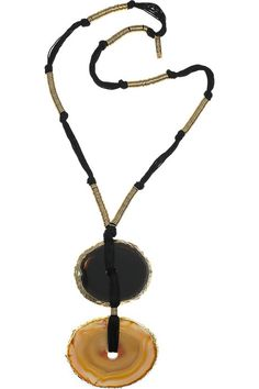 Yves Saint Laurent Gold-plated agate necklace Yves Saint Laurent necklace has knots to secure rings, a designer-stamped tag at back and simply slips on. Beaded Jewelry, Jewelry Necklaces, Handmade Jewelry, Gold Plated Necklace, Gemstone Necklace, Yves Saint Laurent, Metallic Sandals, Rachel Zoe, Jewelry Trends