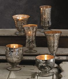 Antiqued Mercury Glass Chalice Votive via The Inglenook Decor, $12.95