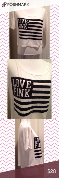 PINK VS American Flag Crop Top Perfect for 4th of July! Size: Small. 60% Cotton and 40% Polyester. PINK Victoria's Secret Tops Crop Tops