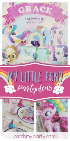 Tracy M's Birthday / My Little Pony - Grace's My Little Pony Party at Catch My Party My Little Pony Birthday Party, Girls Birthday Party Themes, Unicorn Birthday Parties, Unicorn Party, 5th Birthday, Pink Party Favors, Animal Birthday, Animal Party, Table Settings