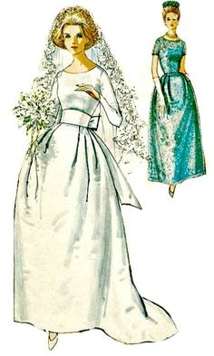 Simplicity 5342  Lovely 1960s Mad Men era wedding gown pattern includes bridesmaids dresses. Featured is a fitted bodice, lowered, round