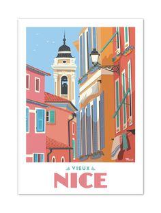"""€25 . Affiche Marcel NICE """" Le Vieux Nice """" . Papier 350g/m² Couché Mat"""