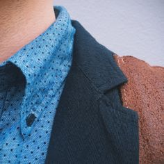 Color | Texture. Navy & Brown. #leather #takeuswithyou