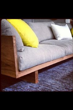 Can make this couch, need a seamstress for the cushions. Need to measure the coricraft couch and make it less deep. Wooden Couch, Wood Sofa, Plywood Furniture, Home Furniture, Furniture Design, Furniture Stores, Diy Sofa, Canapé Diy, Wooden Sofa Designs