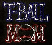 T-Ball Mom Rhinestone T-Shirt with Bling by DecalsandDoodles
