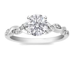 Round Diamond Petite twisted pave band Engagement Ring in 14K White Gold http://bit.ly/HZNxRd