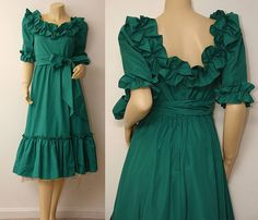 Green vintage dress.