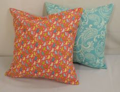 Set of 2 Decorative Pillow Covers Paisley Pillow Aqua by KBCDECOR