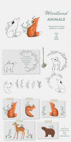 Magical woodland animals by Jenteva Art on Woodland Animals, Woodland Art, Animal Doodles, Doodle Patterns, Bullet Journal Inspiration, Easy Drawings, Doodle Art, Animal Drawings, Art Lessons