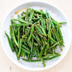 Stir fried green beans: green beans, chili flakes, garlic, soy sauce, brown sugar, sesame oil