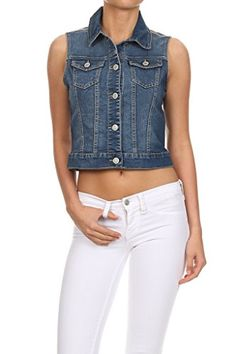 WHITE APPAREL Women's Denim Vest (Basic, Destroyed, Cropped - Various) -- For more information, visit image link.