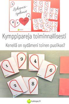 Lukuparisydämet auttavat oppimaan kymppiparit. Kenellä onkaan sydämeni toinen puolikas? Mukana 24 sydämen puolikasta. Toimii mainiosti myös muistipelinä. Tulosta ja laminoi. Kiva toteuttaa erityisesti ystävänpäivänä.   kymppiparit   tukiope.fi   toiminnallinen   muistipeli   matematiikka   alkuopetus Making 10, Playing Cards, Math, Playing Card Games, Math Resources, Game Cards, Playing Card, Mathematics