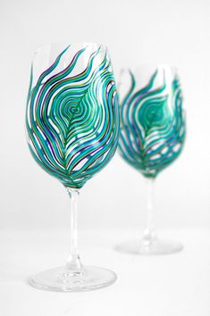 A Peacock Feather Wine Glass Hand-Painted by MaryElizabethArts.com $35.00/Stem