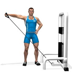 The one-arm cable side lateral raise exercise is useful to isolate the lateral deltoids using the steady resistance of the cables. The exercise involves both the anterior deltoid and the rear one as secondary muscles. Also the traps is involved at the end of the lifting up.