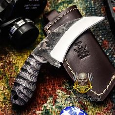 ALONZO KNIVES USA CUSTOM HANDMADE TACTICAL NECK 1095 KNIFE PAKKA WOOD HANDLE3201 #AlonzoKnives