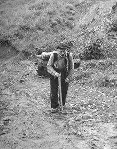 Civil War/Greece  An old Giania man lugging wood down from the forest to heat his home.Location:Louzesti, Greece  Date taken:1947  Photographer:John Phillips