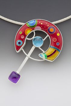 """""""Space Station""""   Enameled Necklace   by Anna Tai"""