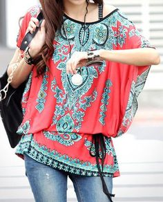 Ethnic Style Scoop Neck Print Color Block Short Sleeve Women's T-Shirt