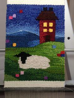 Mini sheep tapestry weaving #sheep #tapestry #weaving #fiber #art