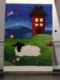 Mini sheep tapestry weaving #sheep #tapestry #weaving #fiber #art