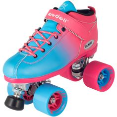The Riedell Dart Ombré roller skates are available in 5 fun faded colorways - the new purple-green, black-red, purple-pink, neon green-black and pink-blue and features an aluminum plate. Light Up Roller Skates, Speed Roller Skates, Roller Derby Skates, Roller Skate Shoes, Speed Skates, Roller Skating, Skating Rink, Skate 4, Skate Girl