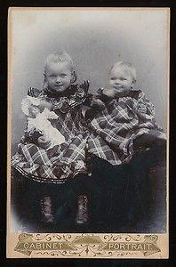 Vintage cabinet card of two German children