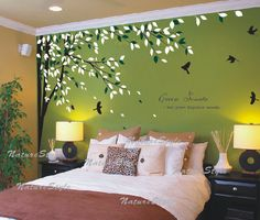 wall decal branch with flying birds vinyl baby wall decal nursery tree decal branch decal  wedding wall decal - branch with flying birds. $62.00, via Etsy.