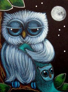 Detail Image for art BLUE SLEEPY BABY OWL with HIS FAVORITE BLANKET