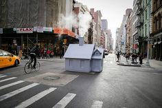 Mark Reigelman Brings Cozy Cabins to New York's Steaming Manholes | Smöker installed at Broadway and Grand Street in SoHo. #design #interiordesignmagazine #interiordesign #installations #nyc