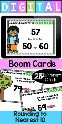 """Digital Self-Checking Boom Cards are a great way to help your students learn and practice their skills. This set focuses on Rounding to the Nearest This deck features both """"fill in the blank"""" and """"multiple choice. Math Stations, Math Centers, Math Made Easy, Math Fact Practice, Math Vocabulary, Math Strategies, School Levels, Guided Math, Math Facts"""