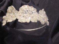 Light ivory Bridal Wedding Flower Headband by svitlanasbridalveils, $28.95