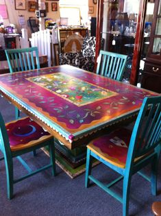 Hand painted table and chairs.