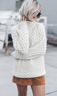 justthedesign: Jacqueline Mikuta wears her gorgeous cream knit...  justthedesign:  Jacqueline Mikuta wears her gorgeous cream knit pullover with a cute button front skirt.  Sweater: Aran Sweater Market Skirt: Monki.
