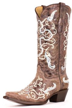 Corral Womens Tobacco / Beige Silver Sequence Cross Cowgirl Boots