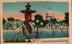Bartholdi Fountain Vintage Linen Postcard Washington DC Capitol Building Souvenir Post Card by ThriftyTheresa