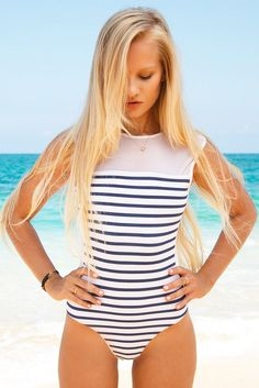 BLUE LIFE Portofino One Piece One Piece | Stripes| summer beach. Swimsuit. Marine, sailor fashion trend. Blond long hair.